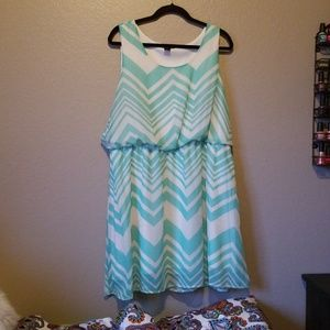 Striped mint green and cream dress